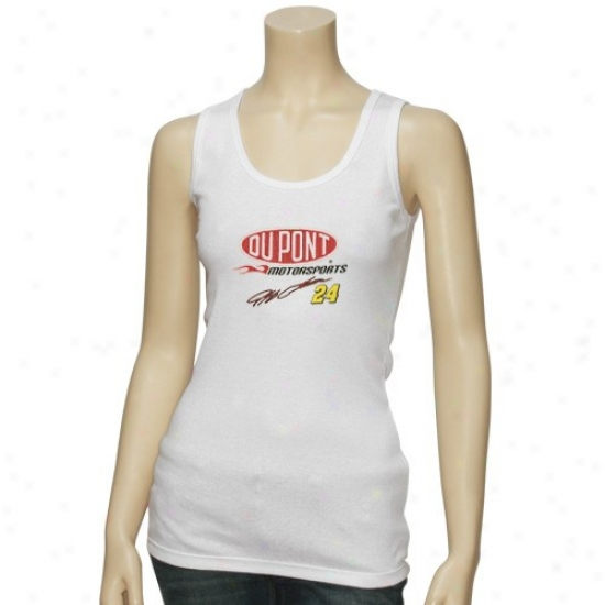 Jeff Gordon Attire: Jeff Gordon Ladies White Fine Tuned Machine Tank Top