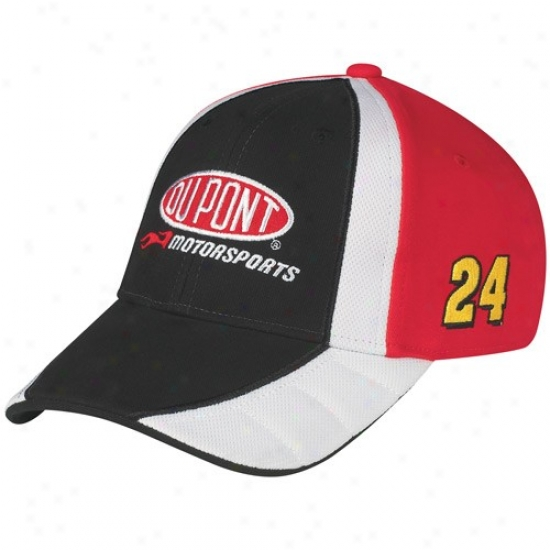 Jeff Gordon Gear: #24 Jeff Gordon Young men Black-red Adjustable Pit Hat