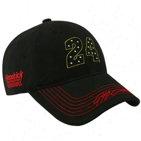 Jeff Gordon Hat : #24 Jeff Gordon Ladies Black Sparklnog Fun Adjustable Hat