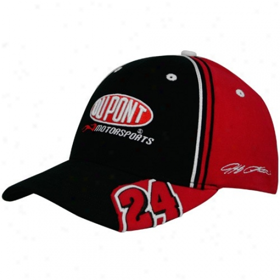 Jeff Gordon Hats : #24 Jeff Gordon Black-red Sfretch Adjustable Hats