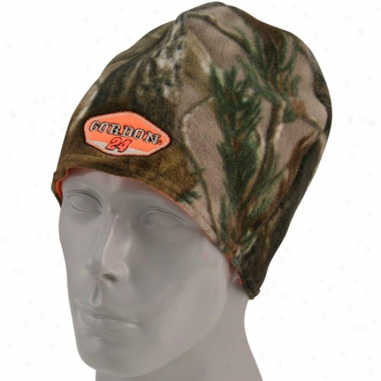 Jeff Gordon Hats : #24 Jeff Gordon Camo-blaze Orange Reversible Beanie
