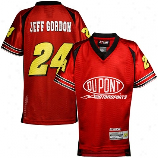 Jeff Gordon Jerseys : Jeff Gordon Youth Red Replica Mesh Football Jerseys