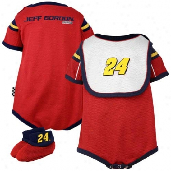 Jeff Gordon Red Infant Mesh Bib & Booties Set
