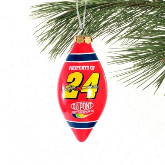 Jeff Gordon Red Teardrop Glass Ornament