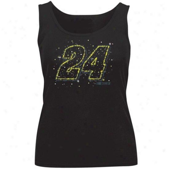 Jeff Gordon Shirt : #24 Jeff Gordon Ladies Black Flashy Tank Top