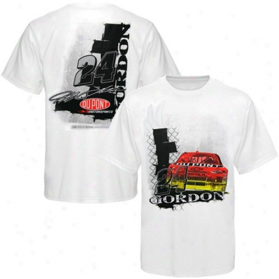 Jeff Gordon Shirt : #24 Jeff Gordon White Front And Back Shirt