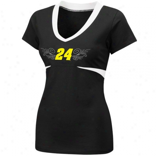 Jeff Gordon Shirts : #24 Jeff Gordon Ladies Black Chick Flick Premium V-neck Shirts