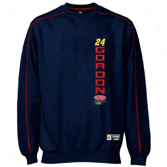 Jeff Gordon Sweatshirt : Jeff Gordon Navy Blue Be folded over Time Ctew Sweatshirt