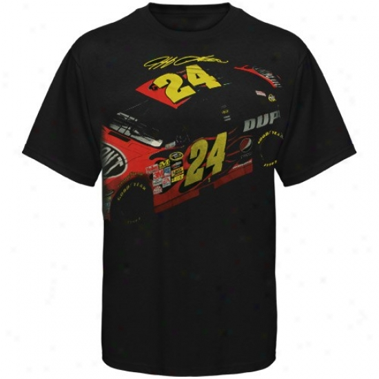 Jeff Gordon T-shirt : #24 Jeff Gordon Black Car Signature T-shirt