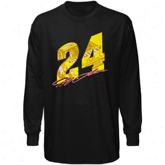 Jeff Gordon T Shirt : #24 Jeff Gordon Black Race View Long Sleeve T Shirt