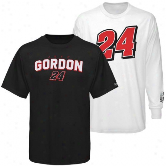 Jeff Gordon T-shir : #24 Jeff Gordon Black-white 3-in-1 T-shirt Combo Pack
