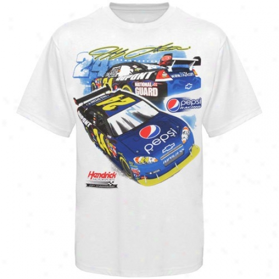 Jeff Gordon T-shirt : #24 Jeff Gordon White Pepsi 25 Years T-shirt