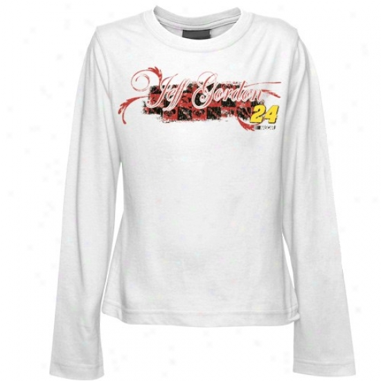 Jeff Gordon T Shirt : #24 Jeff Gordon Youth Girls White On The Clock Long Sleeve T Shirt