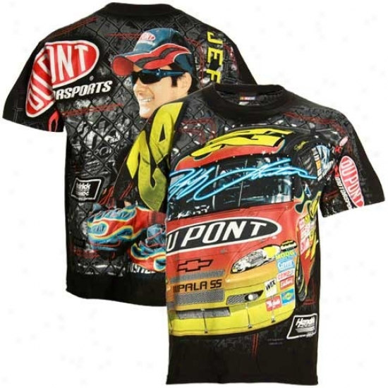 Jeff Gordon Tees : #24 Jeff Gordon Black Oversie Tees