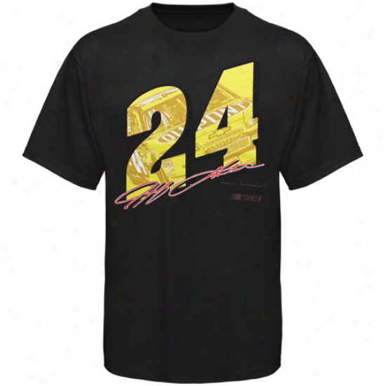 Jeff Gordon Tees : #24 Jeff Gordon Black Race View Tees