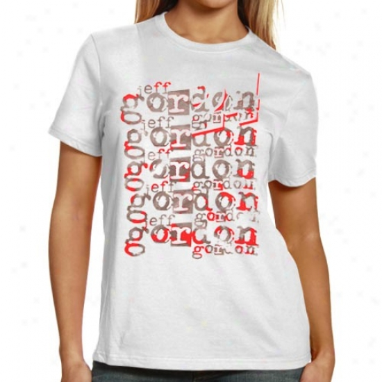 Jeff Gordon Tees : #24 Jeff Gordon Ladies White Repeat Names Tees