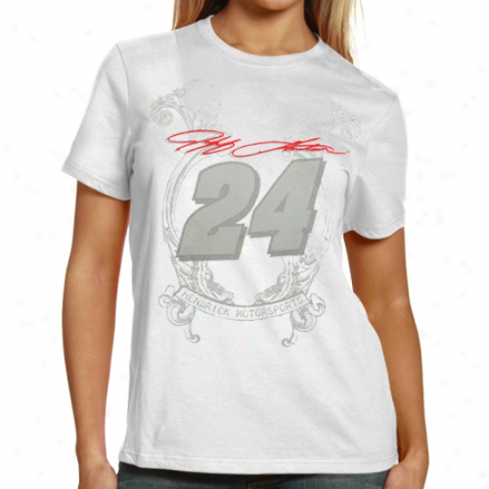 Jeff Gordon Tees : #24 Jeff Glrdon Ladies White Sassy Tees