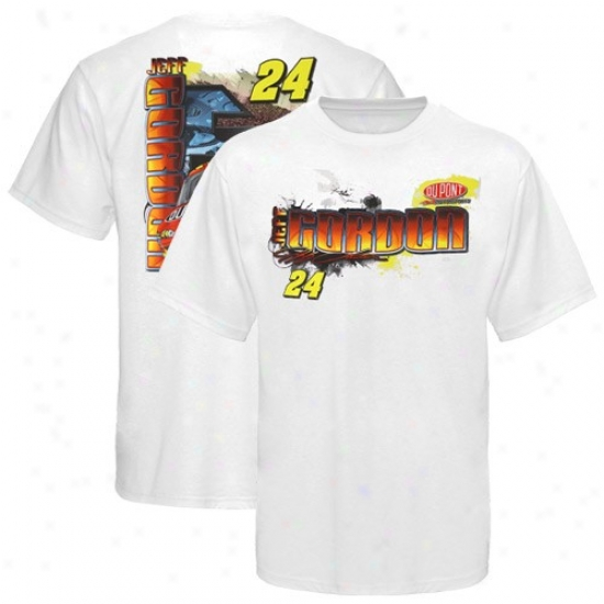 Jeff Gordon Tees : #24 Jeff Gordon White Drive Shaft Tees