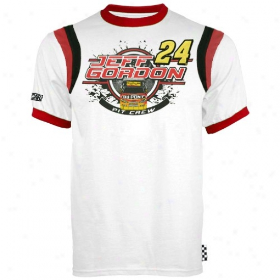 Jeff Gofdon Tees : #24 Jeff Gordon Youth White Finish Line Ringer Tees