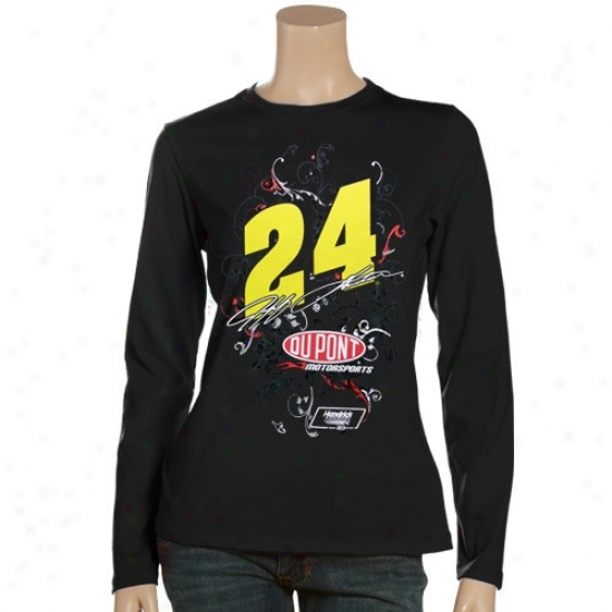 Jeff Gordon Tees : Jeff Gordon Ladies Black Cosmic Girl Long Sleeve Tees