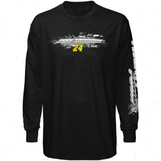 Jeff Gordon Tees : Jeff Gordon Boy Black Speed Warrior Long Sleeve Tees