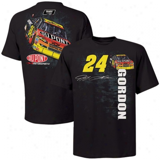 Jeff Gordon Tshirt : #24 Jff Gordon Black Back Straightaway Tshirt