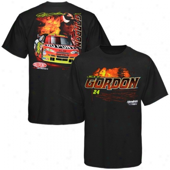 Jeff Gordon Tshirt : #24 Jeff Gordon Black Front And Back Tshirt