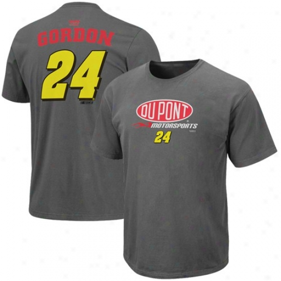 Jeff Gordon Tshirt : #24 Jeff Gordoh Charcoal Name & Multitude Pigment Dyed Driver Tshirt