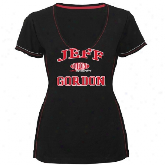 Jeff Gordon Tshirt : #24 Jeff Gordonn Ladies Black Alo My Heart Premium  V-nefk Tshirt