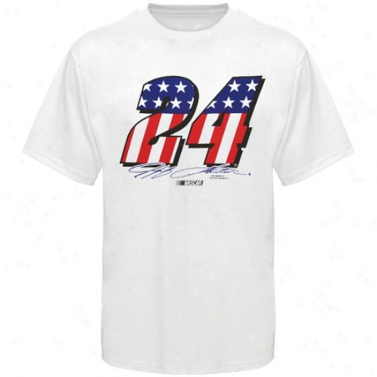 Jeff Gordon Tshirt : #24 Jeff Gordon White Stars & Stripes Number Tshirt