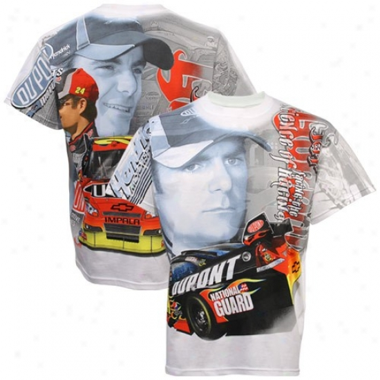 Jeff Gordon Tshirt : #24 Jeff Gordon White Tonal Print Tsbirt