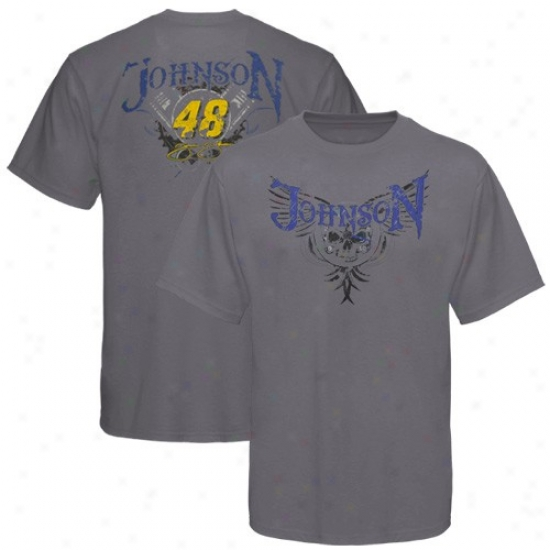 Jimmie Johnson Apparel: #48 Jimmie Johnson Gray Demon Of The Track T-shirt