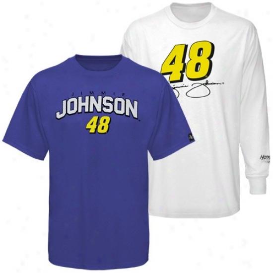 Jimmie Johnson Attire: #48 Jimmie Jihnson Royal Blue-white 3-kn-1 T-shirt Combo Bundle