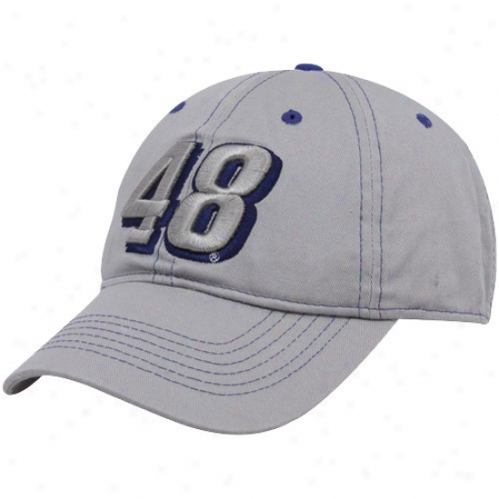 Jimmie Johnson Hat : #48 Jimmie Johnson Gray Big Number Adjustable Hat