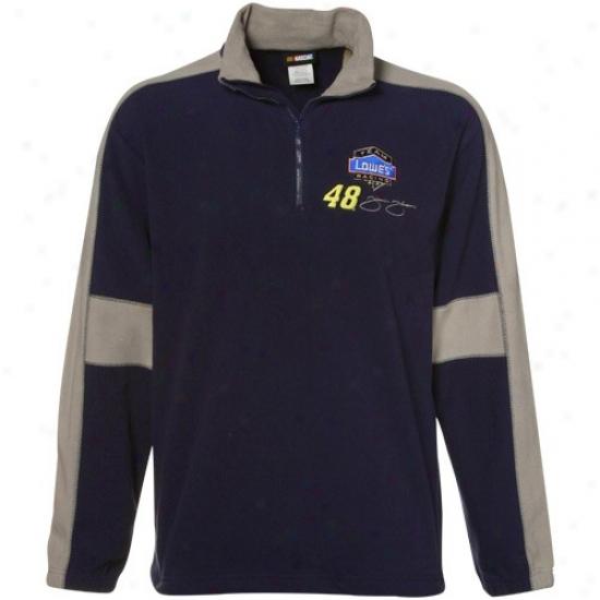 Jimmie Johnson Hoodie : #48 Jimmie Johnson Navy Blue Hot Pass 1/4 Zip Hoofie