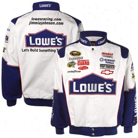 Jimmie Johnson Jacket : #48 Jimmie Johnson White Twill Uniform Jacket