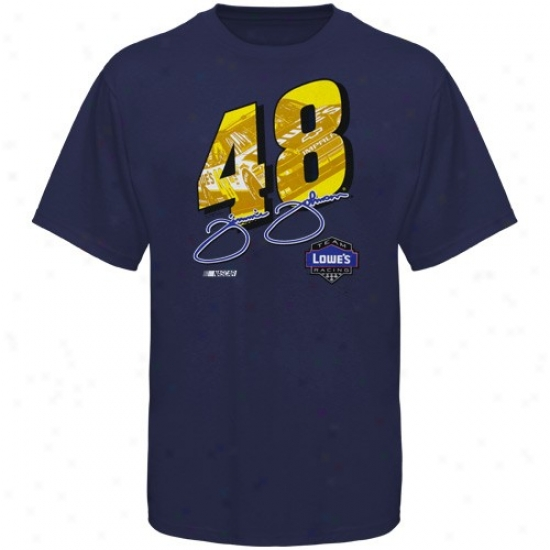 Jimmie Johnson Shirt : #48 Jimmie Johnson Navy Blue Race View Shirt