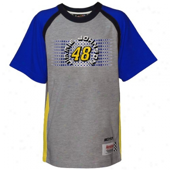 Jimmie Johnson Shirt : Reebok Jimmie Johnson Youth Ash Speedway Shirt