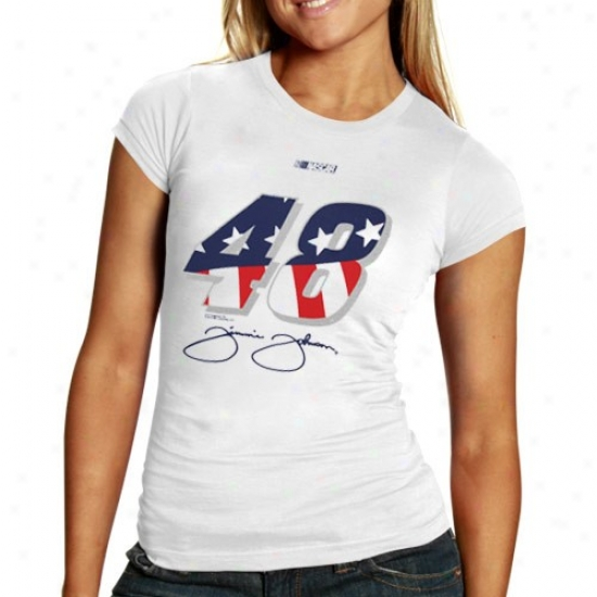 Jimmie Johnson Shirts : #48 Jimmie Johnson Ladies White Stars & Stripes Number Shirts