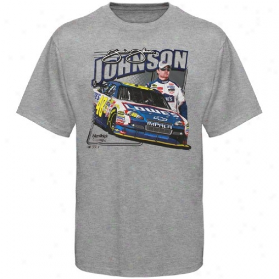 Jimmie Johnson T Shirt : #48 Jimmie Johnson Ash Front Straightaway T Shirt