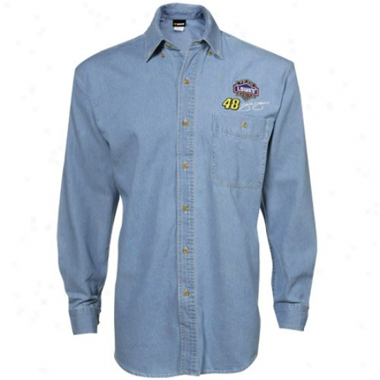 Jimmie Johnson Tee : #48 Jimmie Johnson Denim Beyond Victory Long Sleeve Button Down Dress Tee