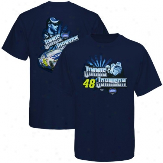 Jimmie Johnson Tee : #48 Jimmie Johnson Ships Blue Front To Back Tee