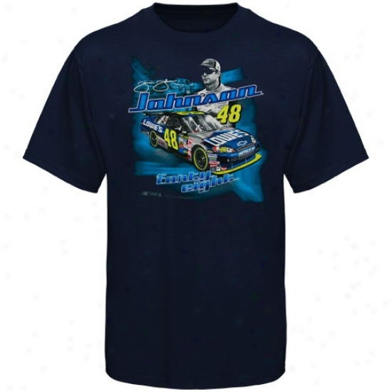 Jimmie Johnson Tee : Jimmie Johnson Youth Navy Blue Racecar Tee