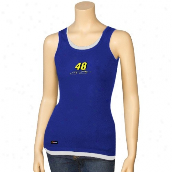 Jimmie Johnson Tees  :#48 Jimmie Johnson Ladies Royal Blue Harmony Layered Cistern Top