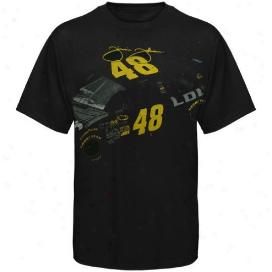 Jimmie Johnson Tshirt : #48 Jimmie Johnson Black Car Signature Tshirt