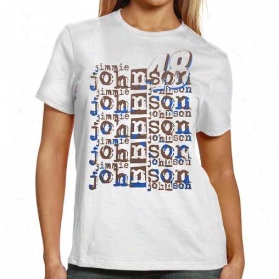 Jimmie Johnson Tshirt : #48 Jimmie Johnson Ladies White Repeat Names Tshirt