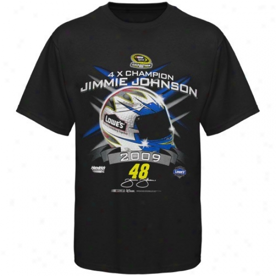 Jimmie Johnson Tshirts : #48 Jimmie Johnson Black 2009 Nascar Sprint Cup Series 4-time Champion Helmet Tshirts
