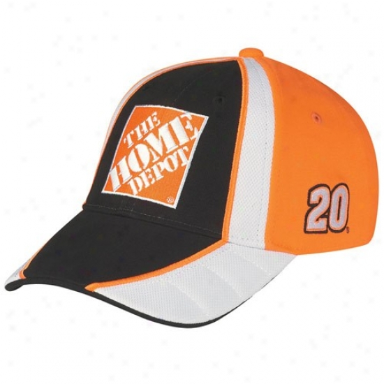 Joey Logano Cap : #20 Joey Logano Black-ornage Driver Pir Adjustable Cap