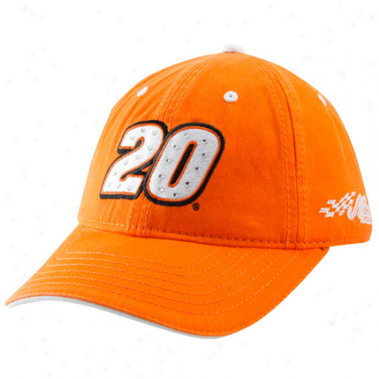 Joey Logano Gear: #20 Joey Logano Ladies Orange Rhinestone Adjustable Hat