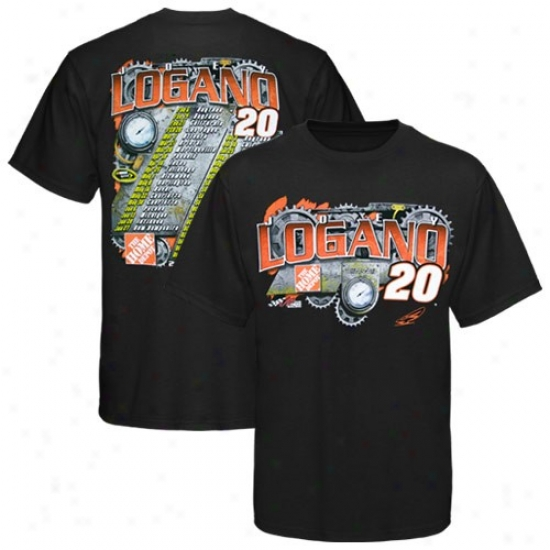 Joey Logano Shirts : #20 Joey Logano Black 2010 Schedule Shirts